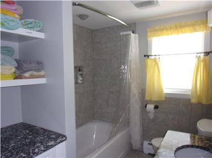 Falmouth Cape Cod vacation rental - New downstairs bathroom with towels and beach towels