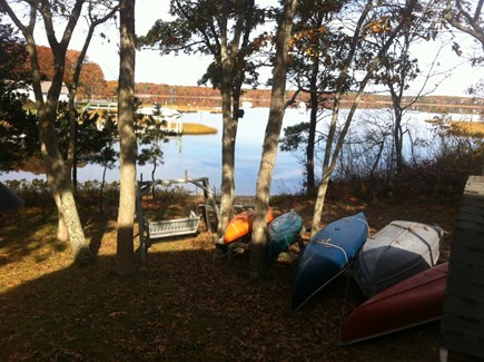 Mashpee Cape Cod vacation rental - Private viewing place and boats waiting to be enjoyed