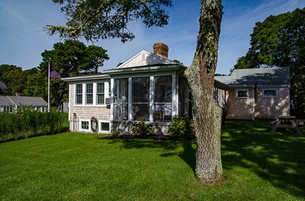 Harwich Cape Cod vacation rental - Backyard with Picnic Table, Gas Grill and Spacious Outdoor Shower