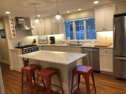 Harwich Cape Cod vacation rental - Commercial Range and Solid Surface Counter Tops