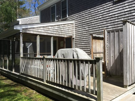 West Falmouth near Old Silver  Cape Cod vacation rental - Deck area with gas grill, outdoor shower