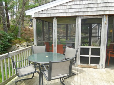 West Falmouth near Old Silver  Cape Cod vacation rental - Morning coffee on the porch or on the deck