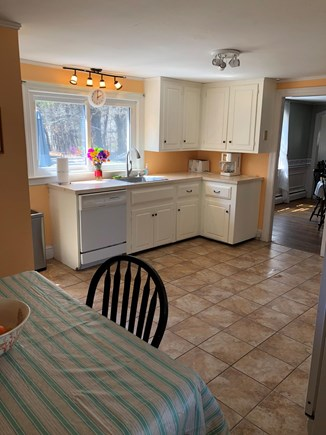 Harwichport/So Harwich, on cul Cape Cod vacation rental - Kitchen has dishwasher, frig, stove, microwave, coffee & seating.