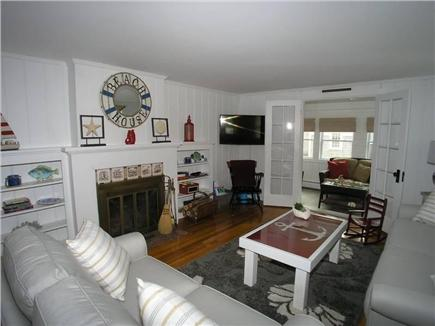 Dennis Port Cape Cod vacation rental - Beach-themed living room will make your stay enjoyable