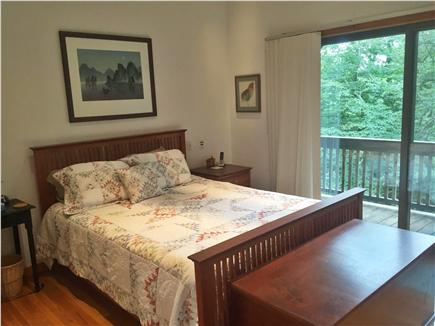 Falmouth, Woods Hole Cape Cod vacation rental - Master Bedroom with queen bed and sliders to balcony