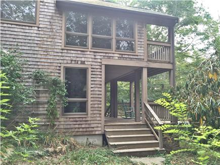 Falmouth, Woods Hole Cape Cod vacation rental - View of front porch and master bedroom exterior with balcony