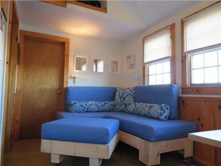 North Truro Beach Point Cape Cod vacation rental - Pallet couches 30Wx60L and 30Wx48L with ottoman in living area