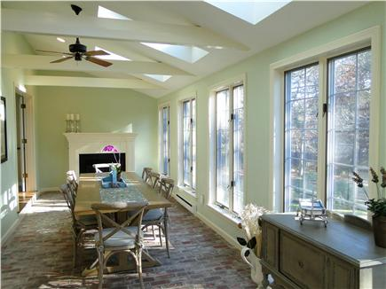 Barnstable Cape Cod vacation rental - One of our favorite rooms – vaulted dining room w/ fireplace
