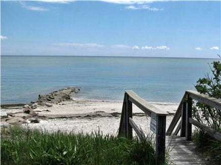 South Yarmouth Cape Cod vacation rental - Stairs to white sandy beach with shower at top of stairs