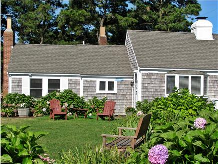 South Yarmouth Cape Cod vacation rental - Dozens of Hydrangeas, gardens & lawn overlooking 500 ft beach