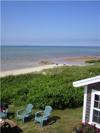 Brewster Cape Cod vacation rental - View of front lawn and beach from upper deck