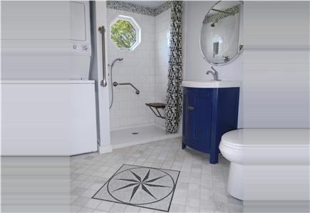 Falmouth Heights Cape Cod vacation rental - Accessible bathroom with walk-in shower and convenient laundry