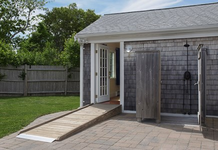 Falmouth Heights Cape Cod vacation rental - Wheelchair ramp and roll-in access to outdoor shower