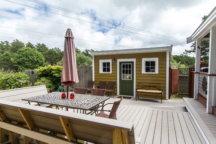 Eastham Cape Cod vacation rental - Very large bi-level deck with built-in bench.