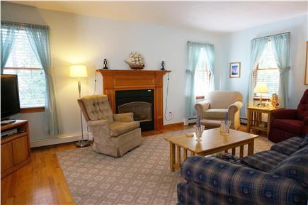 Eastham Cape Cod vacation rental - Living room: TV, gas fireplace, comfy couch and chairs