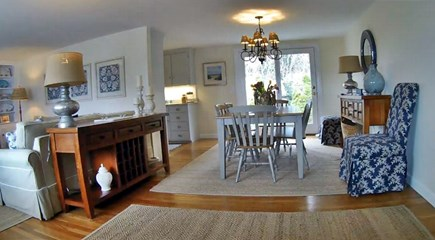 East Dennis Cape Cod vacation rental - Dining room with french doors to back patio and yard