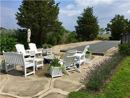 Sandwich Cape Cod vacation rental - Patio & Bocce court with marsh views. Large enclosed yard for dog