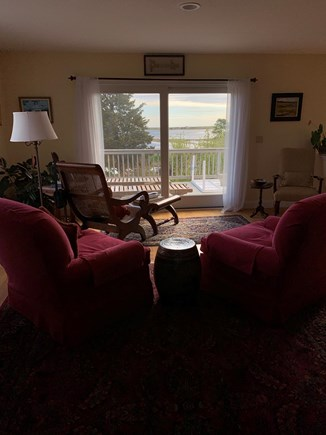 Sandwich Cape Cod vacation rental - View of deck and water from living room.