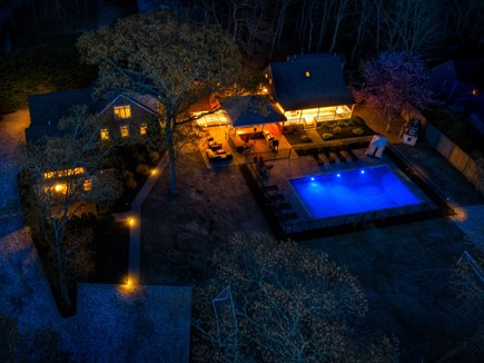 Eastham Cape Cod vacation rental - Outside aerial at night showing the three houses and the pool