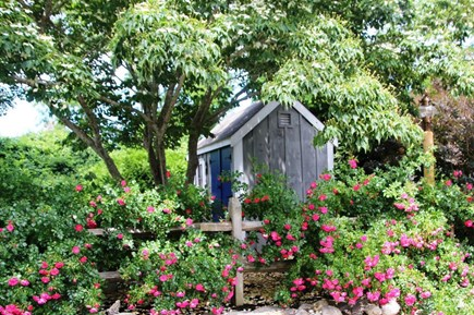 East Orleans Cape Cod vacation rental - Entry to driveway, storage shed with beach supplies