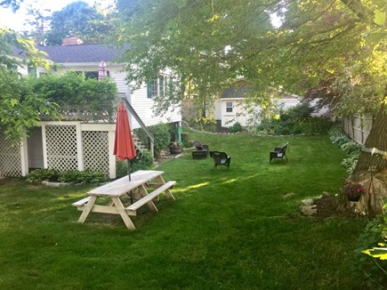 Plymouth MA vacation rental - Large manicured backyard with seating for 10-15. Deck seating.