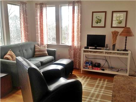 Truro, Ma Cape Cod vacation rental - Living room with couch and two chairs with cable tv.