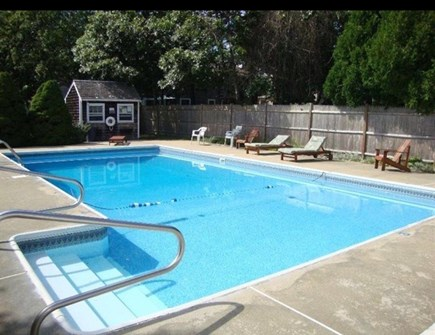 Dennis Port Cape Cod vacation rental - Large salt water pool with lots of furniture to relax