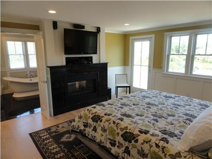 Provincetown, West End Cape Cod vacation rental - Master Bedroom #1 with soaking tub & fireplace