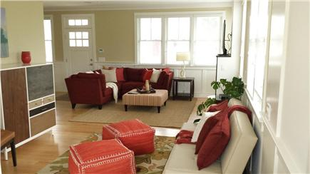 Provincetown, West End Cape Cod vacation rental - Sitting room open to living room with TV & fireplace