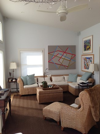 Provincetown Cape Cod vacation rental - Large, bright living room with water views.