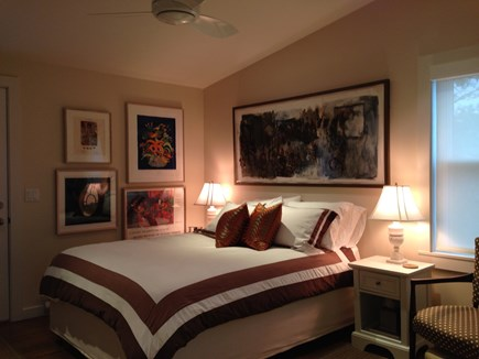 Provincetown Cape Cod vacation rental - Master bedroom, queen bed, ceiling fan and A/C.