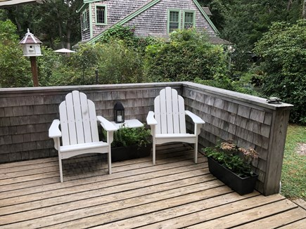 Wellfleet Cape Cod vacation rental - Adirondack chairs on the outside deck.
