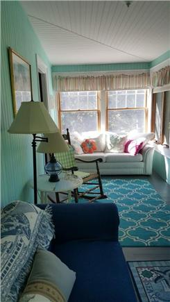 Megansett, North Falmouth Cape Cod vacation rental - Bright Upstairs Porch with water views.  Pull out couch,  TV, DVR