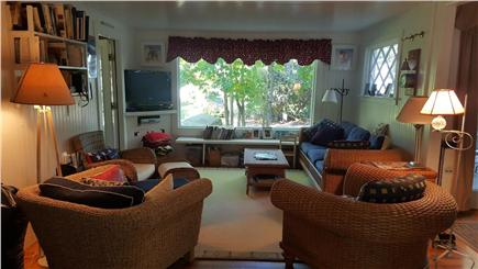 Megansett, North Falmouth Cape Cod vacation rental - Bright Living Room with picture window.  Cable TV, DVR.