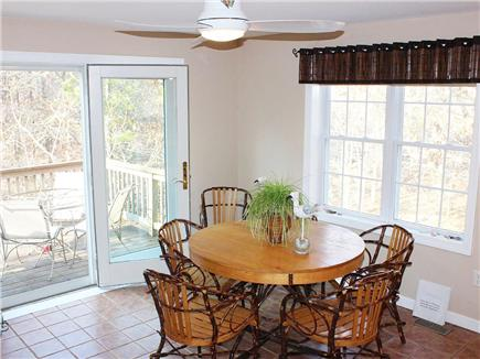 Hyannis Cape Cod vacation rental - Kitchen eating area with French doors to the deck
