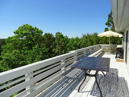 Truro Cape Cod vacation rental - Long wrap-around deck with seating, privacy, grill and views
