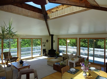 Truro Cape Cod vacation rental - Large, airy living room w/ sliders to deck, unique 9'x9' skylight