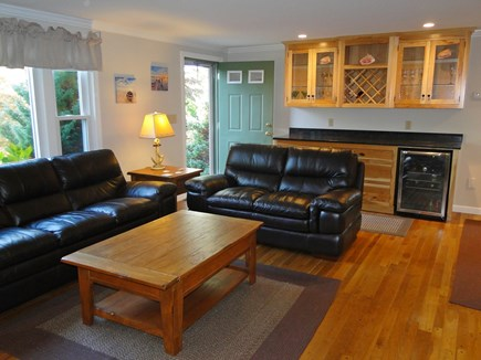 Chatham Cape Cod vacation rental - Living room offers comfortable leather couches and new bar area