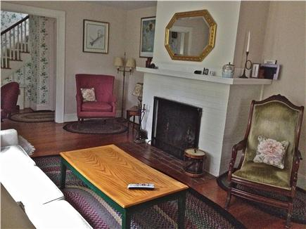 Barnstable Cape Cod vacation rental - Front Room; fireplace and entertainment center.