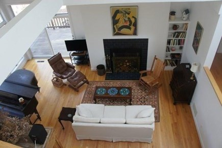 Wellfleet Cape Cod vacation rental - Living room viewed from second floor catwalk