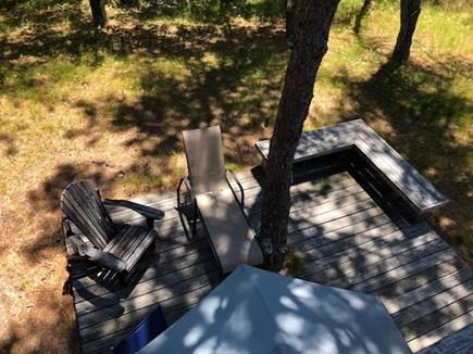 Wellfleet Cape Cod vacation rental - Looking down on deck in the woods on the oceanside of Wellfleet