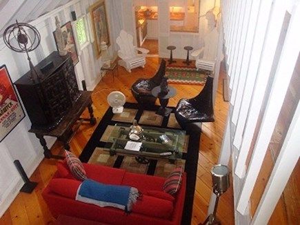 Wellfleet Cape Cod vacation rental - View of living room in guesthouse from the loft
