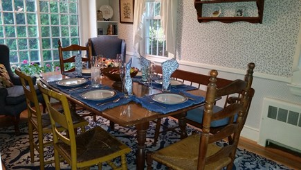Falmouth Cape Cod vacation rental - Second view of dining room, showing table open and set