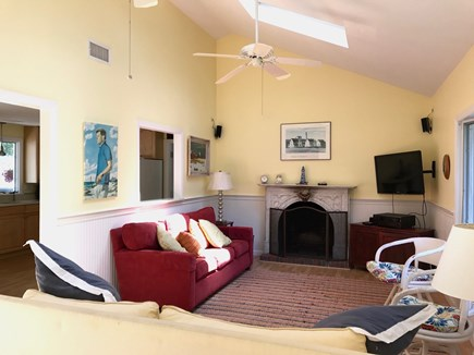 West Harwich Cape Cod vacation rental - Light large living room with skylights and ceiling fans