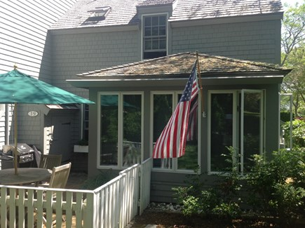 New Seabury, Mashpee New Seabury vacation rental - Porch and back patio withteak dining and grill