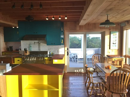 Wellfleet Cape Cod vacation rental - Living room view to kitchen / dining area.