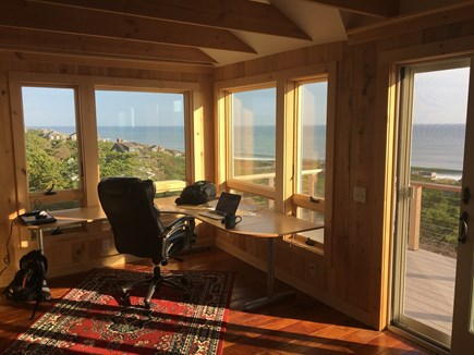 Wellfleet Cape Cod vacation rental - Office desk and chair with incredible view.