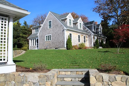 Orleans Cape Cod vacation rental - Front view from driveway showing great lawn.