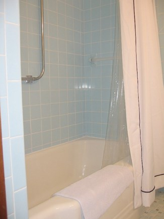 Dennis, North 6A, Bay Beaches! Cape Cod vacation rental - Full Size Hall Bathroom with Window, Linen Closet, Large Bathtub.