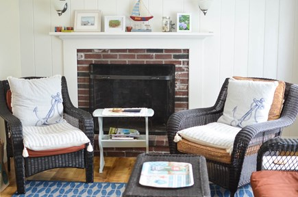 Dennis, North 6A, Bay Beaches! Cape Cod vacation rental - Cozy living room off kitchen with TV and front door.